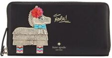 "NEW Kate Spade Haute Stuff Piñata Applique Lacey Leather Wallet Gold ""Hola"" $228"
