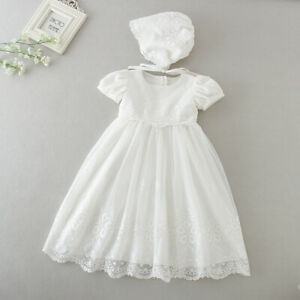 Baby Embroidery Lace Baptism Dress Floral Christening Birthday Party Gown Bonnet