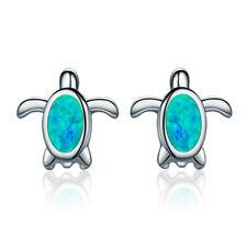 New Authentic .925 Sterling Silver Blue Opal Inlays Turtle Ear Stud Earrings