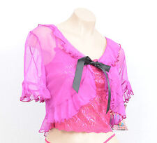 SALE! PINK RIBBON BLACK BOW SHEER CROP WRAP SHRUG COVER UP TOP LINGERIE PRIVATE