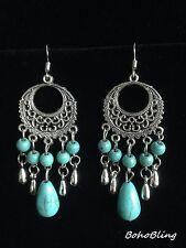Earrings Turquoise Silver Tribal Belly Dance Hippie Bohemian Ethnic Boho A1059