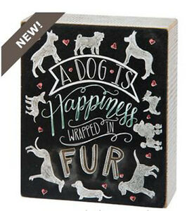"A Dog is Happiness Wrapped in Fur Box Sign Primitives by Kathy 5"" x 6"""