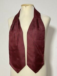 "LOVELY RED  ASCOT 100% SILK GEOMETRIC 52""/6"" EXCELLENT CONDITION"