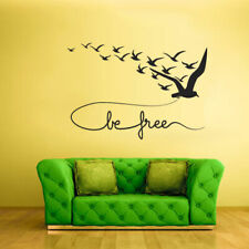 Wall Vinyl Sticker Feather Sign Quote Be Free Decal Birds (Z2291)