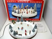 Electronic Christmas Victorian Skating Scene Happy Winter Holiday KMart Animated