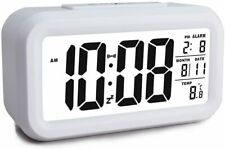 Battery Operated Cordless Digital Alarm Clock with Temperature, Crescendo Alarm,