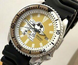 Seiko Ceramic Snoopy Joe Cool Woodstock Automatic Divers Date Watch Custom 7002