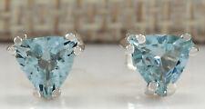 1.70 Carat Natural Aquamarine 14K White Gold Earrings