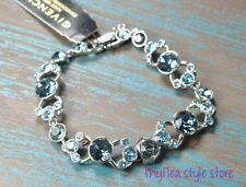 Givenchy Bracelet Sapphire Blue Glass Round Swarovski Elements Formal Flex New