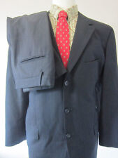 (44R) Calvin Klein Black Striped 3 Buttons Mens 2 Piece Suit Blazer Pants