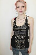 Warehouse punk grunge studs metal vest top going out gothic size 8 holiday sexy