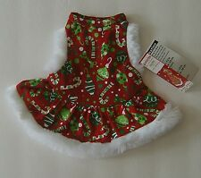 Simply Dog Dress Holiday Time Christmas Faux Fur Ornaments Candy Canes XXS Pet