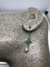 Vintage Fire Opal Pearl Earrings 925 Sterling Silver Lever Backs