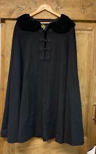 Vintage Black Liberty London Retro/Alorna/Poncho/Cape/Wool/Winter/Shawl/Cloak