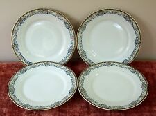 4 THEODORE HAVILAND LUNCHEON PLATE RUMANIA LIMOGES SCHLEIGER 864? SCROLL ROSE