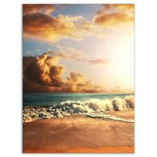 Fast Moving Dark Clouds Over Beach Canvas Art