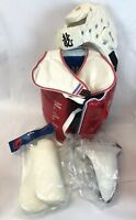 New MAD Traditional Chest Guard Head Pads Shin Guards Jock Cup Bundle Size M