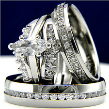 wedding & bridal band ring set New 4pc stainless steel Cz engagement