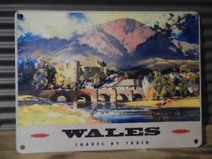 FAB VINTAGE RETRO ADVERTISING METAL SIGN WALL PLAQUE *WALES - TRAVEL BY TRAIN*