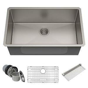LIVINGbasics 30inch Undermount Single Bowl 16 Gauge Stainless Steel Kitchen Sink