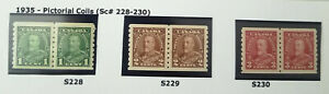 Canada S228 - 230 MNH Pairs 1935 Pictorials