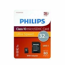 Philips 32gb Micro SD SDHC Class 10 UHS-I Tarjeta de Memoria 80MB/s + Adaptador