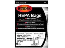 Riccar Vacuum Bags HEPA Allergen Filtration Simplicity 6 pk Envirocare 855 Vac