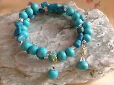 Turquoise Coloured Stone & Wood Beads Memory Wire Bracelet