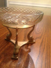 VINTAGE GLASS CANDY/NUT DISH WITH SOLID BRASS HOLDER ON KOI FISH LEGS