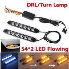 2x White/Amber Switchback Flowing LED Knight Rider Car Headlight DRL Turn Signal