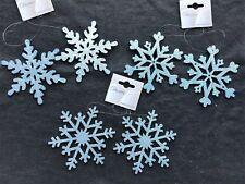 6 X Bleu Glacé Flocon de Neige Sapin Noël Boule Décorations Brillant Paillette