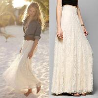 Retro Women's Double Layer Lace Pleated Long Maxi Skirt High Elastic Waist Dress