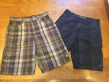 Billabong Shorts Mens, Size 30, 2 Pairs Black Plaid & Kahki Tan Plaid