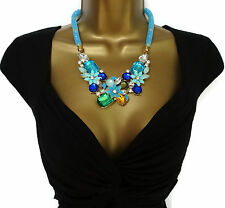 Turquoise Blue Stardust  Necklace With Fixed Pendants Rhinestones Crystals Bib