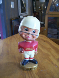 VINTAGE 1960's NFL ST LOUIS CARDINALS FOOTBALL GOLD BASE BOBBLEHEAD see descrip