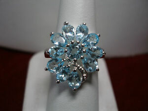STERLING SILVER GENUINE BLUE TOPAZ COCKTAIL RING