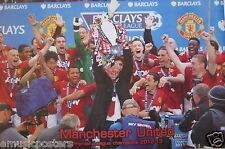 "MANCHESTER UNITED FC ""PREMIER LEAGUE 2013 TROPHY IN THE AIR"" POSTER - Soccer"
