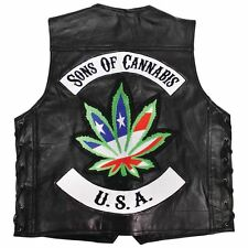 "Be A Rebel™ Buffalo Leather ""SONS OF CANNABIS"" Vest"