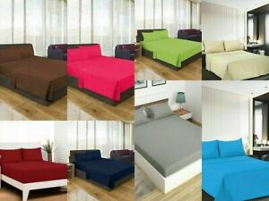1800 Number Solid Colours Depth Case Microfibre Bed Sheets With Cushion Cover