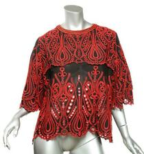 IRO Black & Red Embroidered Layered NIDA Eyelet Top Black Red NEW US8 FR40