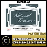 2018 PANINI NATIONAL TREASURES FOOTBALL 4 BOX CASE BREAK #F268 - PICK YOUR TEAM