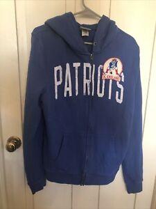 Vintage New England Patriots Full Zip Hoodie - Junk Food - Large - Blue