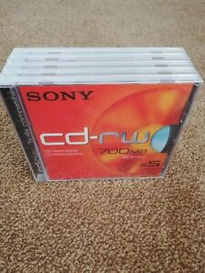 Sony cd rw discs 700mb 5 Pack Sealed Brand New In Cases
