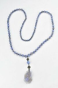 19th Century Agate Beaded Necklace with Carved Pendant & Embroidery