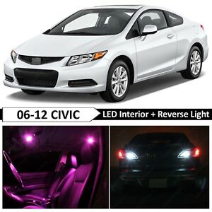 10x Pink Interior Reverse LED Light Package Kit Fit 2006-2012 Honda Civic Coupe