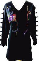 PLUS 2X Hand Embellished Rhinestone Mardi Gras Cat Mask Streamers Tunic Top