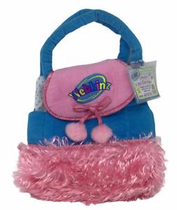 Webkinz Plush Pet Carrier Ganz Code Tag Pink Blue PomPoms Bag Handle Carry NEW