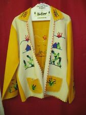 Vintage wool Woman's Coat bright yellow & cream Western style Crewel embroidery