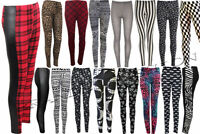 WOMENS  MULTI WET LOOK CHECK PRINT ELASTICATED WAIST LEGGINGS SIZES 8 - 26