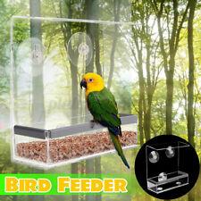 Bird Feeder Acrylic Clean Food Hanging Box Feeding +3 Suction Cups Waterproof